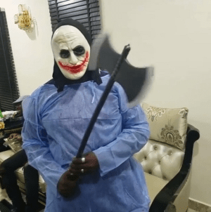 Check out Comedian, Elenu in his hilarious Halloween costume